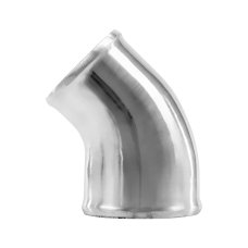 "Polished Cast Aluminum 45 Degree 3""-2.5"" O.D. Reducer Elbow Pipe"