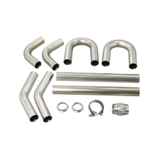 "Universal Stainless Piping Kit 2.5"" 8 pcs 45 90 Exhaust Flex Pipe Vband"