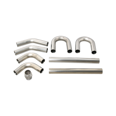 "Universal Stainless Piping Kit 2.5"" 8 pcs 45 90 + Exhaust Flex Pipe"