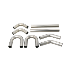 "Universal Stainless Piping Kit 2.5"" 8 pcs Exhaust Straight 45 90 U Pipe"