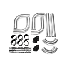"""2.5"""" AL.8PCS Turbo Intercooler With Pipe 120 Degree Piping Kit for Toyota Lexus"""