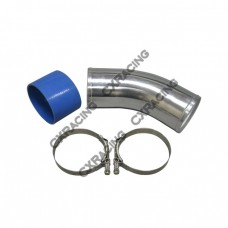 "4"" O.D. Aluminum 45 Degree Joiner Pipe 10"" Long + Hose + T-Clamps"