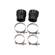 "3"" - 2.5"" Straight Black Silicon Hose Coupler 2 PCS w/ T Bolt Clamps"