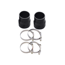 "4"" - 3.5"" Straight Black Silicon Hose Coupler 2 PCS w/ T Bolt Clamps"